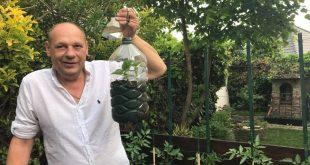 Vertikálna bylinková záhrada z plastových nádob