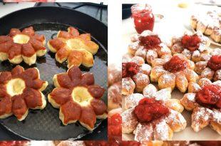 Recept na šišky s domácim džemom v tvare kvetiniek